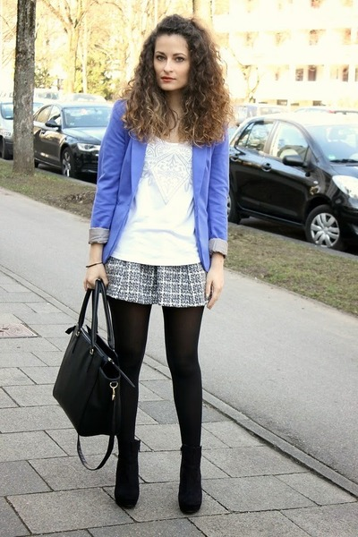 black H&M boots - blue H&M blazer - black H&M bag