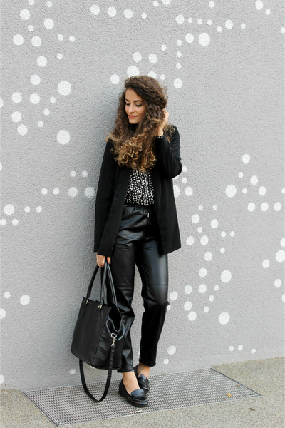 black asos blazer - black heart H&M shirt - black H&M bag