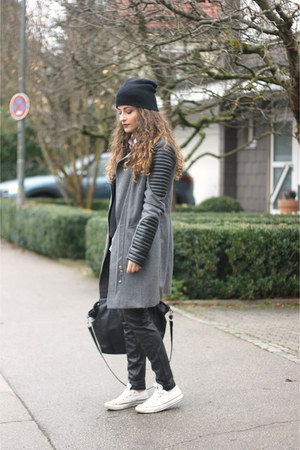 heather gray biker asos coat - black H&M bag - black leather H&M pants