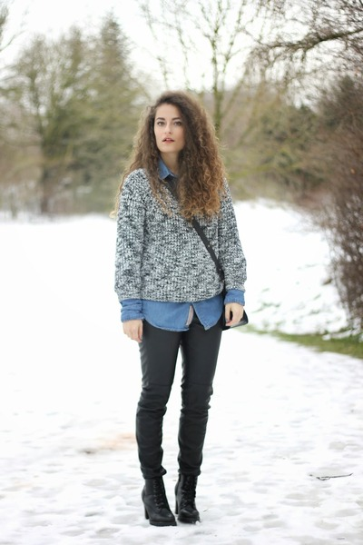 black lace-up Chicwish boots - turquoise blue denim Alcott shirt