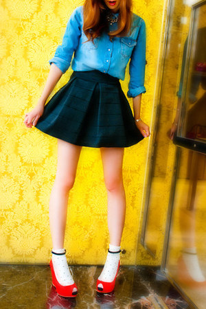 flare skirt kiwi tucker skirt - denim shirt H&M shirt - Zara wedges