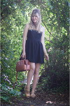 crimson sequin dress - tawny leather Golden Ponies bag