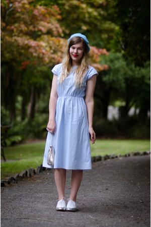 sky blue thrifted vintage dress - sky blue beret thrifted vintage hat