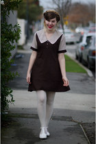 dark brown 60s vintage dress - white white asos tights - white t bar bait flats