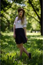 beige thrifted vintage hat - navy thrifted vintage skirt