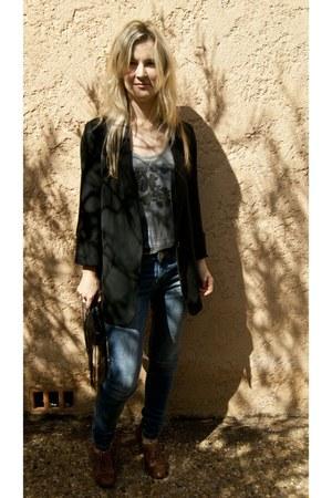 Topshop blazer - skinny jeans Zara jeans - The Lost Travel TShirt Company vest