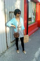blue vintage cardigan - brown vintage accessories