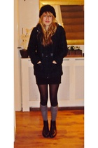 green H&M coat - black H&M skirt - gray new look socks - black boots - black Pri