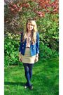 Blue-h-m-blazer-pink-h-m-blouse-beige-h-m-skirt-brown-new-look-hat