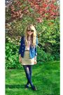 Blue-h-m-blazer-pink-h-m-blouse-beige-h-m-skirt-brown-new-look-hat