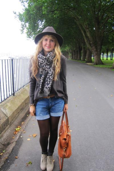 brown H&M jumper - beige new look boots - brown Marks & Spencers hat - brown bag