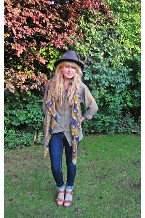 green H&M shirt - blue new look jeans - beige M&S socks - brown Topshop shoes -
