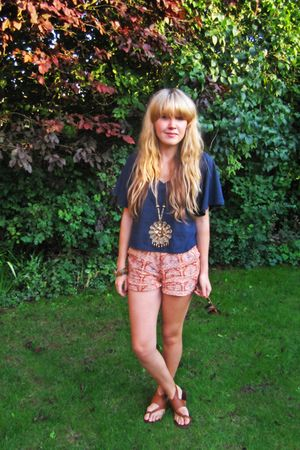 blue Topshop top - orange River Island - brown Topshop - gold Topshop necklace