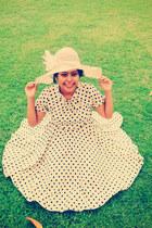 nude chiffon polkadot dress dress - nude fiber beach hat hat