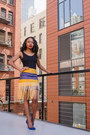 Black-boohoo-bodysuit-yellow-custom-made-skirt-blue-shoedazzle-heels
