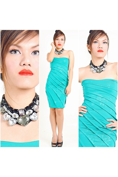 aquamarine floral dress Lu Liam dress - black bib necklace Lu Liam necklace