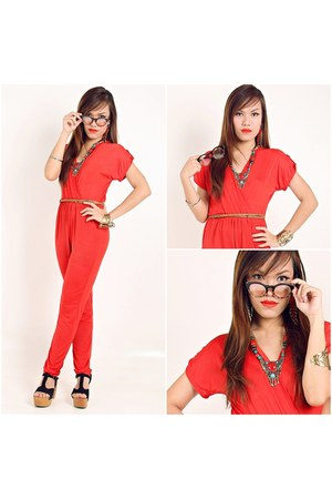red red jumpsuit Lu Liam bodysuit - black Lu Liam clogs