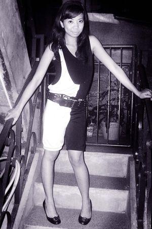 black vintage dress - black elle shoes - H&M top