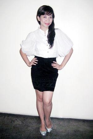 white vintage top - black forgot the brand- skirt
