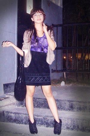 purple top - black vintage skirt - black want shoes - beige Gingersnaps