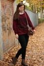 Camel-deichmann-shoes-maroon-new-yorker-sweater-black-primark-leggings