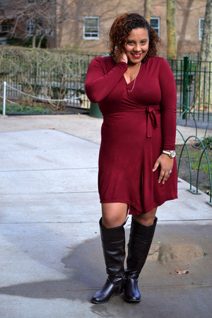 Forever 21 necklace - Breckell boots - Old Navy dress - Michael Kors watch