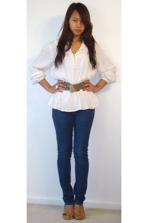 H&M blouse - Xhilartion shoes - Levis jeans - thrifted belt