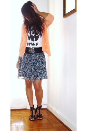 black Forever 21 belt - Forever 21 skirt - World Wildlife Fund top - Forever 21