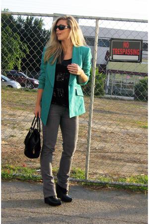 green Tahari blazer - gray Cant remember jeans - black Velvet Angels shoes - bla