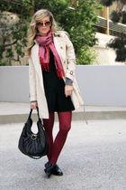 beige short trench Burberry coat - black Topshop shoes - black IISla dress
