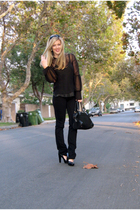 Tree blouse - vintage top - J Brand jeans - calvin klein shoes - Gucci vintage p