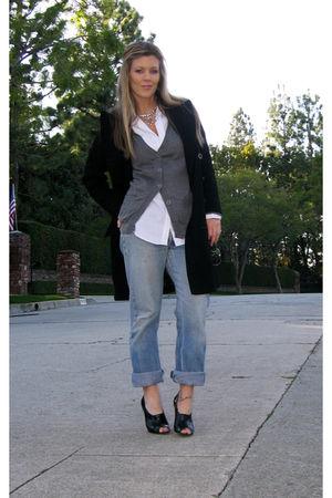 black Pea Coat coat - blue Levis Jeans jeans - black Jessica Simpson shoes - whi