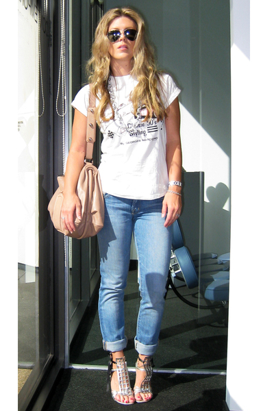silver DIY  YSL shoes - blue J Brand jeans - silver aviators ray-ban sunglasses