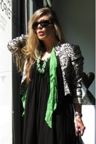 vintage scarf - forever 21 dress - David Hayes blazer - Chanel sunglasses - Marc