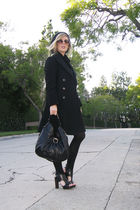 black Pea Coat coat - black Forever 21 dress - black Pour La Victoire shoes - bl