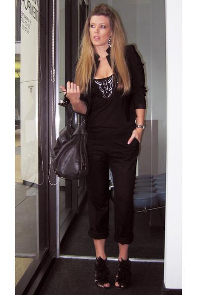 black DIY shoes - black vintage blazer bill kaiserman rafael blazer