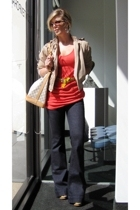 London Fog jacket - Victorias Secret dress - J Brand Lovestory jeans jeans - Red