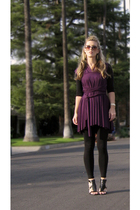 purple wrap dress Erin Leigh Heart  etsy dress - black Forever 21 sweater