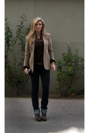 brown vintage tweed Ralph Lauren blazer - brown lace-up wedges Via Spiga shoes