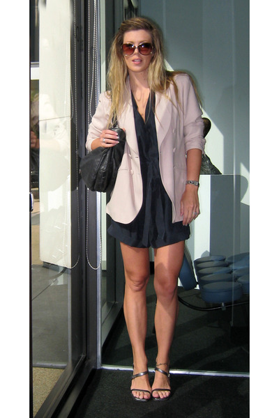 blue Helmut Lang shorts - gray Gucci shoes - beige asl blazer