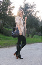 beige vintage blazer - black Walter dress - black Boutique 9 boots - Salvatore F