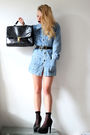 Blue-thrifted-dress-black-thrifted-shoes-black-thrifted-belt-black-thrifte