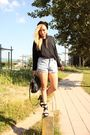 Black-filippa-k-top-blue-vintage-shorts-black-zara-shoes-black-moschino-pu