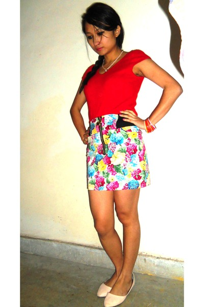 red accessories - gold Forever 21 accessories - light pink flats - white skirt