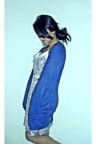 light pink flea market dress - blue vintage cardigan - white pearls thrift belt