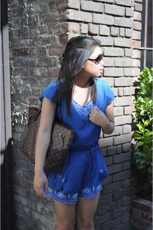 blue Forever 21 top - brown Louis Vuitton Neverfull purse - Forever 21 sunglasse