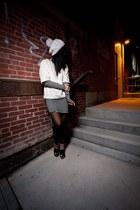 black Woodleigh dress - white faux fur hm top