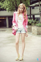 dark gray high-cut Call it Spring boots - bubble gum tailored Folio blazer