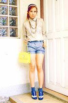 brogue Schu shoes - yellow Anne Klein bag - gray Chemistry shorts - memo blouse