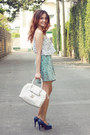 White-tote-guess-bag-sky-blue-frilly-floral-chemistry-shorts